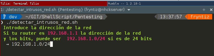 Script para buscar hosts en la red agrego máscara